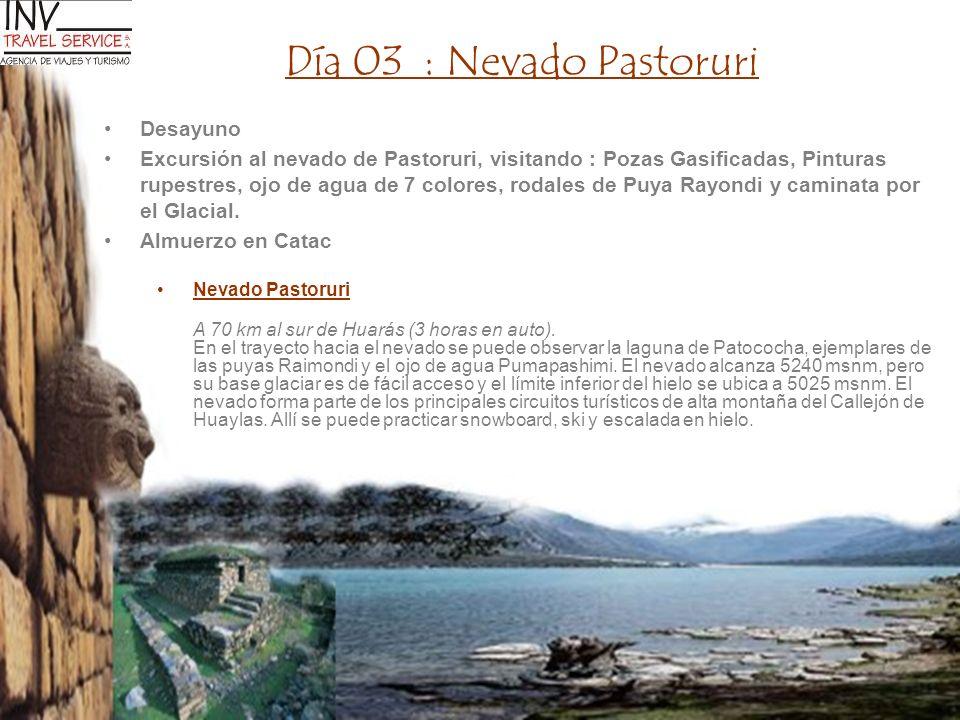 Día 03 : Nevado Pastoruri Desayuno Excursión al nevado de Pastoruri, visitando : Pozas Gasificadas, Pinturas rupestres, ojo de agua de 7 colores, roda