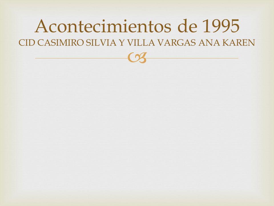 EXITOS DE ESE AÑO un año con mucha diversidad donde había artistas tan dispares como Laura Pausini, Nirvana, Antonio Flores o Gloria Stefan 1-LAURA PAUSINI(LA SOLEDAD)(SE FUE)(AMORES EXTRAÑOS)- 1(15)-70 2-ALEJANDRO SANZ(MI SOLEDAD Y YO)(LA FUERZA DEL CORAZON)-1(2)-54 3-LUZ CASAL(ENTRE MIS RECUERDOS)-3-63 4-THE CRANBERRIES(ZOMBIE)-1(7)-40 5-GLORIA STEFAN(ABRIENDO PUERTAS)-1(17)-67 MUSICA DE 1995