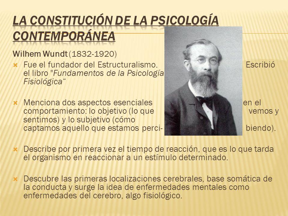 Wilhem Wundt (1832-1920) Fue el fundador del Estructuralismo. Escribió el libro