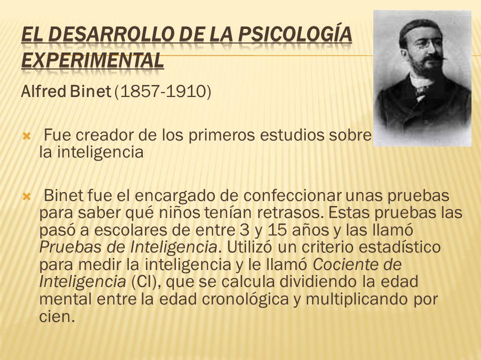 Alfred Binet (1857-1910) Fue creador de los primeros estudios sobre la inteligencia Binet fue el encargado de confeccionar unas pruebas para saber qué