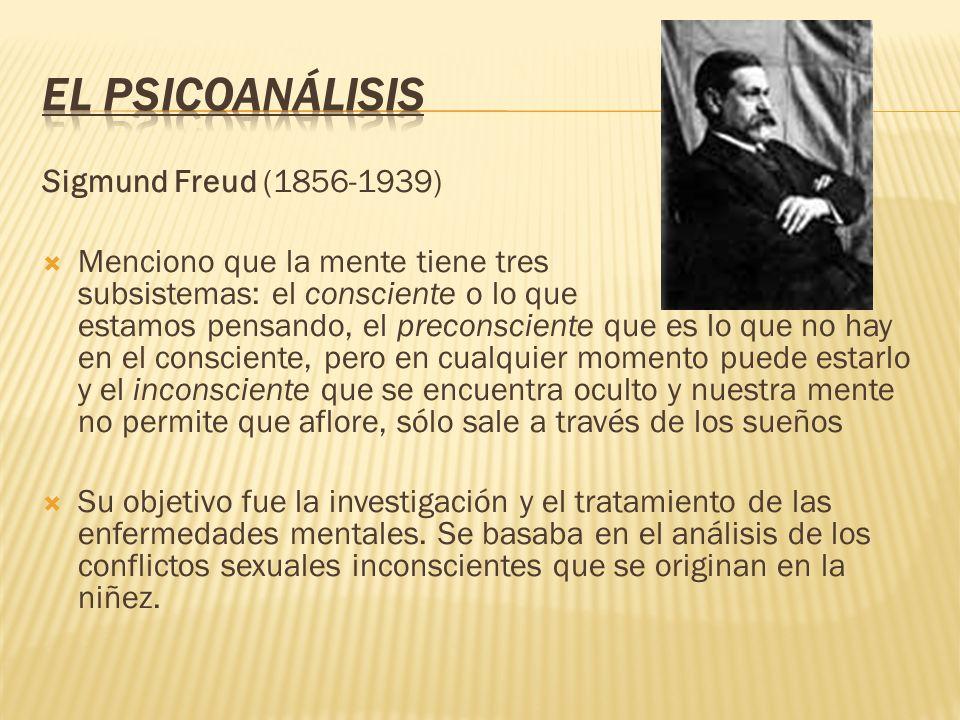 Sigmund Freud (1856-1939) Menciono que la mente tiene tres subsistemas: el consciente o lo que estamos pensando, el preconsciente que es lo que no hay