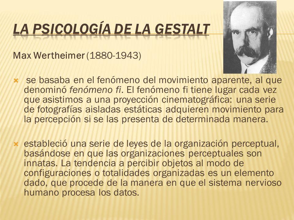 Max Wertheimer (1880-1943) se basaba en el fenómeno del movimiento aparente, al que denominó fenómeno fi. El fenómeno fi tiene lugar cada vez que asis