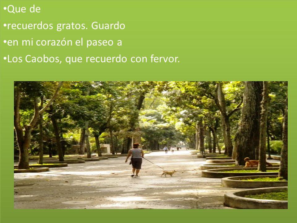 Que de recuerdos gratos.Guardo en mi corazón el paseo a Los Caobos, que recuerdo con fervor.