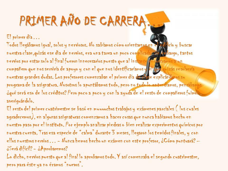 PRIMER AÑO DE CARRERA… Claramente, las palabras con las que podemos describir ese año son Desconcierto, Confusión, Agobio y Nervios.