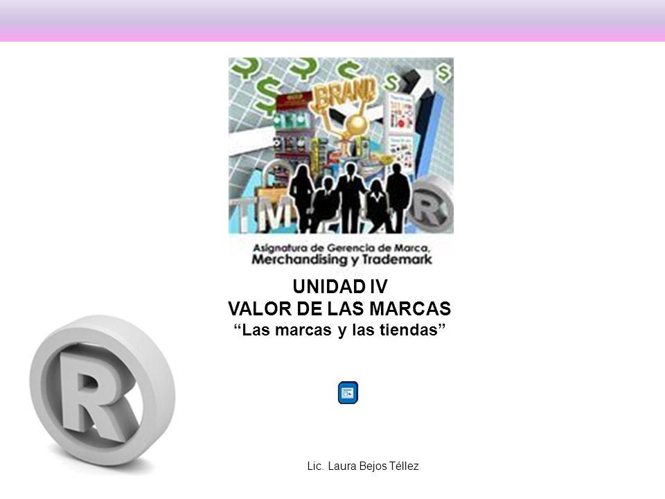 UNIDAD IV VALOR DE LAS MARCAS Las marcas y las tiendas Lic. Laura Bejos Téllez