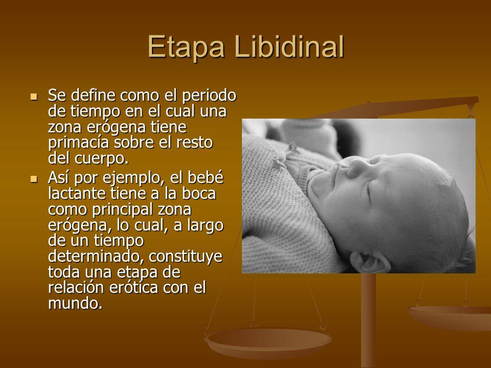 Etapa Libidinal Se define como el periodo de tiempo en el cual una zona erógena tiene primacía sobre el resto del cuerpo.