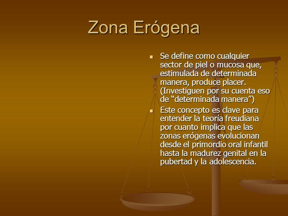 Zona Erógena Se define como cualquier sector de piel o mucosa que, estimulada de determinada manera, produce placer.