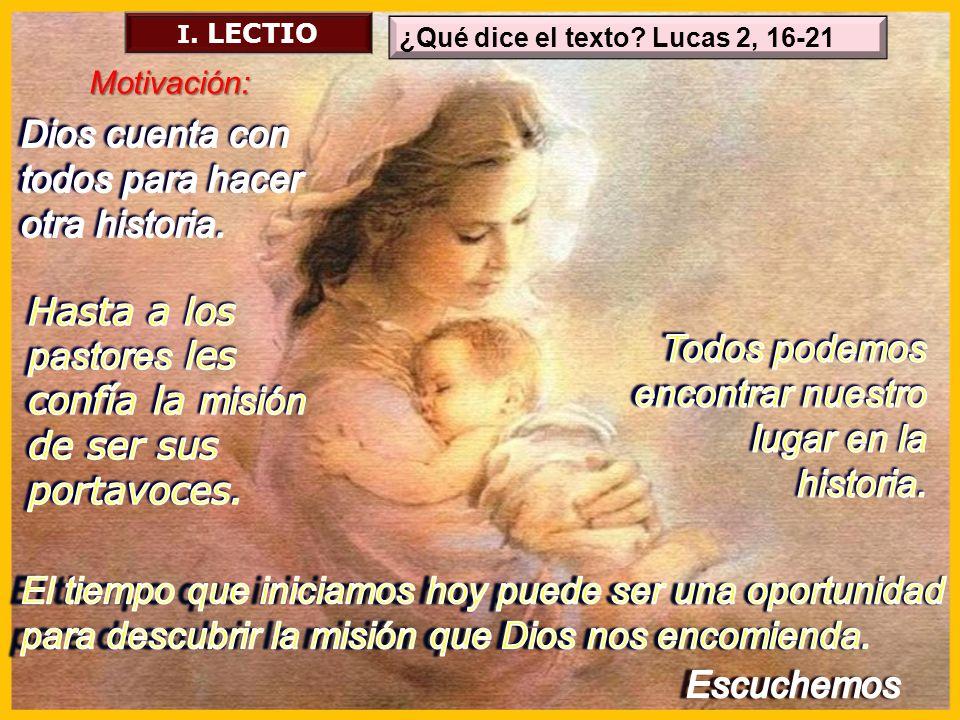 ¿Qué dice el texto? Lucas 2, 16-21 I. LECTIO Motivación: