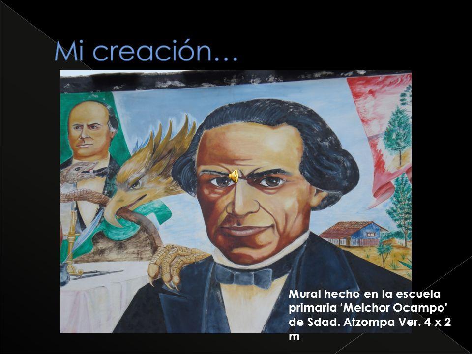 Mural hecho en la escuela primaria Melchor Ocampo de Sdad. Atzompa Ver. 4 x 2 m