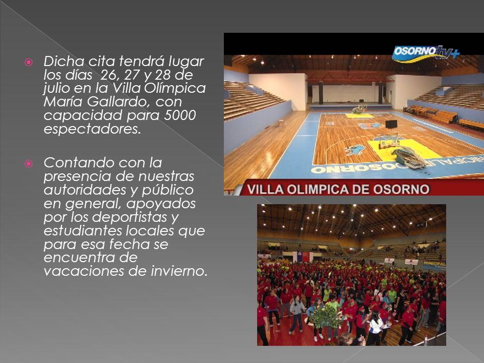 Dicha cita tendrá lugar los días 26, 27 y 28 de julio en la Villa Olímpica María Gallardo, con capacidad para 5000 espectadores. Contando con la prese