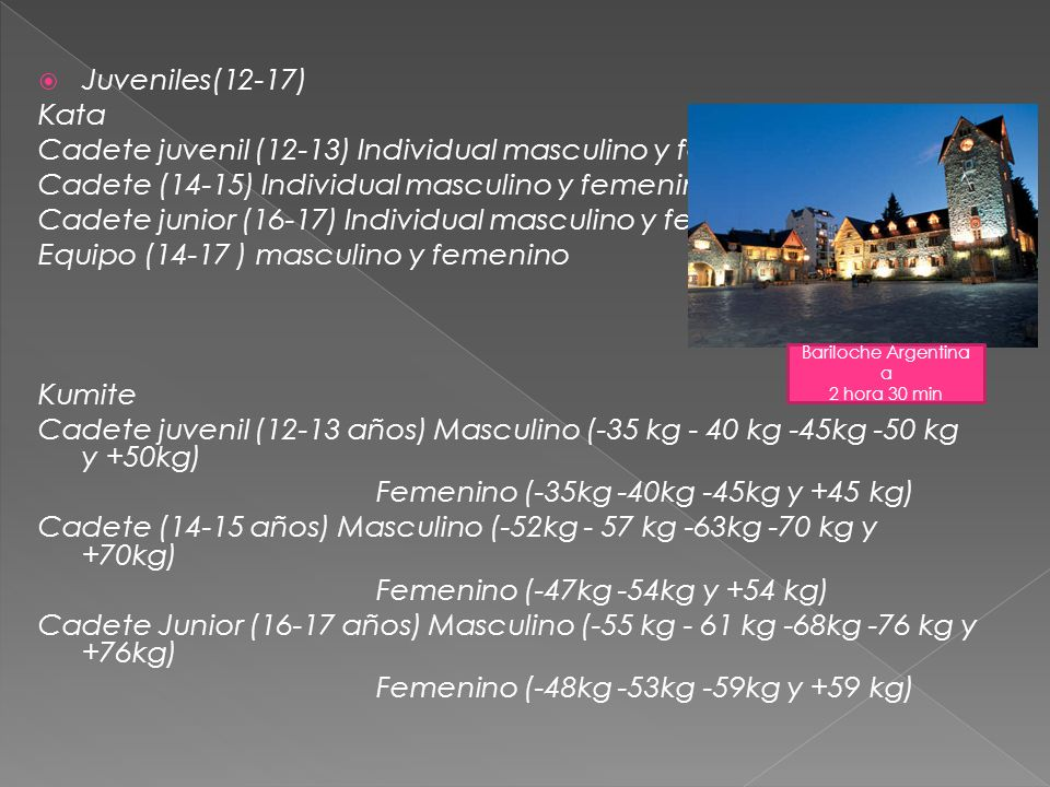 Junior (18-20 años) Kata Individual Masculino y Femenino Equipos Masculino y Femenino Kumite Individual Masculino (-68kg -78kg +78kg) Individual Femenino (-53kg -60kg +60kg) Equipo Masculino y Femenino Senior (+20) Kata Individual Masculino y Femenino Equipos Masculino y Femenino Kumite Individual Masculino (-60kg -67kg -75kg -84 kg y +84kg) Individual Femenino (-50kg -55kg -61kg -68kg y +68kg) Equipo Masculino y Femenino Centro de Ski Antillanca 1 hora 30 ´ de Osorno