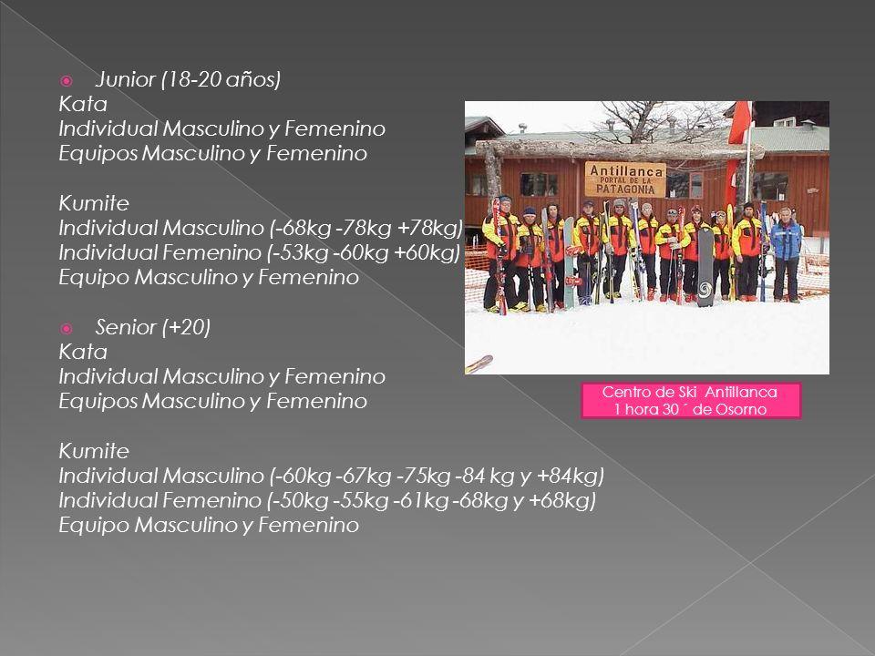 Junior (18-20 años) Kata Individual Masculino y Femenino Equipos Masculino y Femenino Kumite Individual Masculino (-68kg -78kg +78kg) Individual Femen
