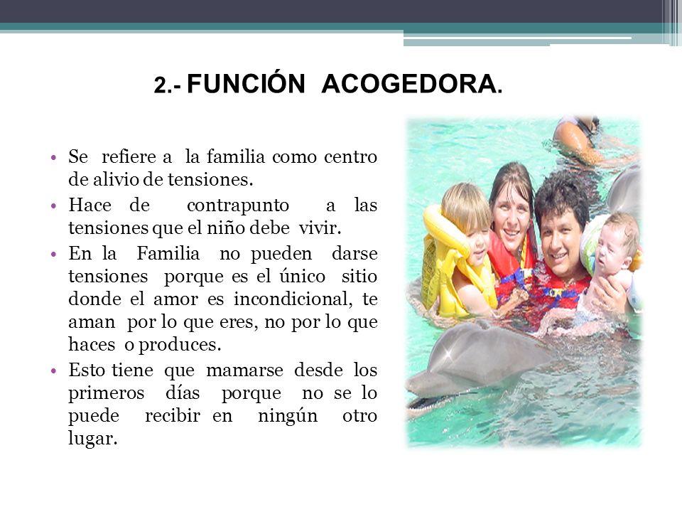 2.- FUNCIÓN ACOGEDORA. Se refiere a la familia como centro de alivio de tensiones. Hace de contrapunto a las tensiones que el niño debe vivir. En la F