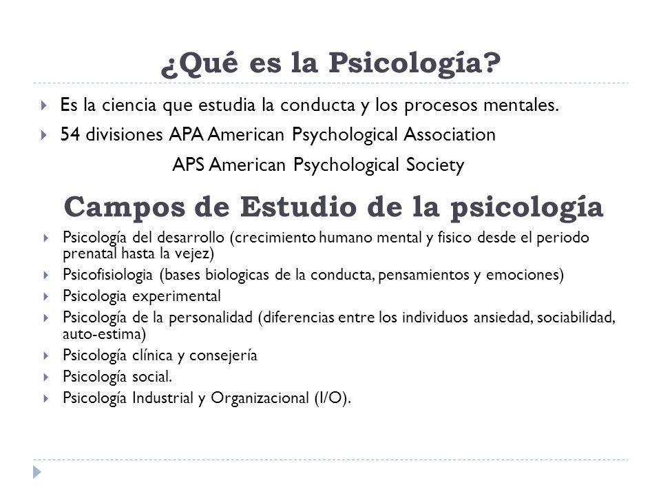 ¿Qué es la Psicología? Es la ciencia que estudia la conducta y los procesos mentales. 54 divisiones APA American Psychological Association APS America