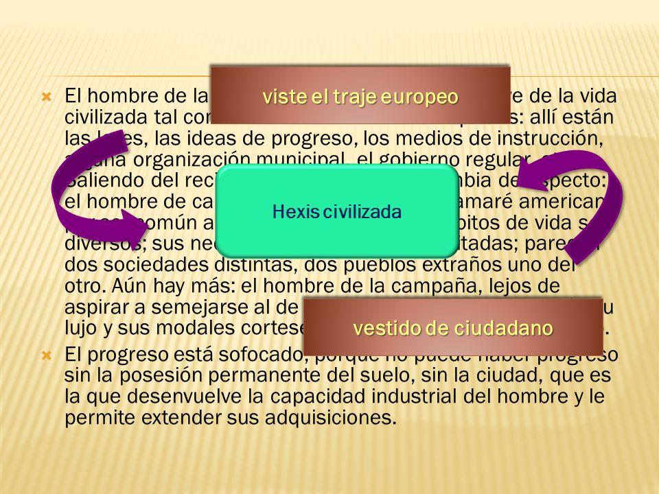 El hombre de la ciudad viste el traje europeo, vive de la vida civilizada tal como la conocemos en todas partes: allí están las leyes, las ideas de pr