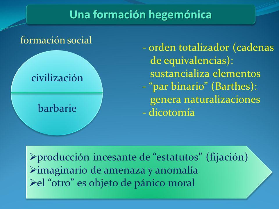 Una formación hegemónica formación social civilización barbarie - orden totalizador (cadenas de equivalencias): sustancializa elementos - par binario