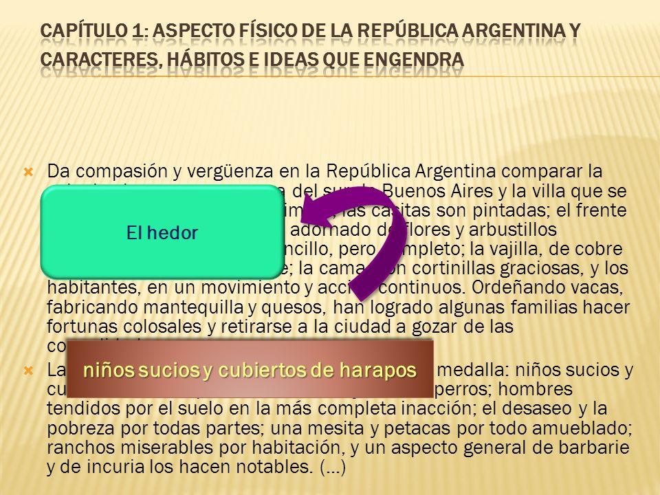 Da compasión y vergüenza en la República Argentina comparar la colonia alemana o escocesa del sur de Buenos Aires y la villa que se forma en el interi