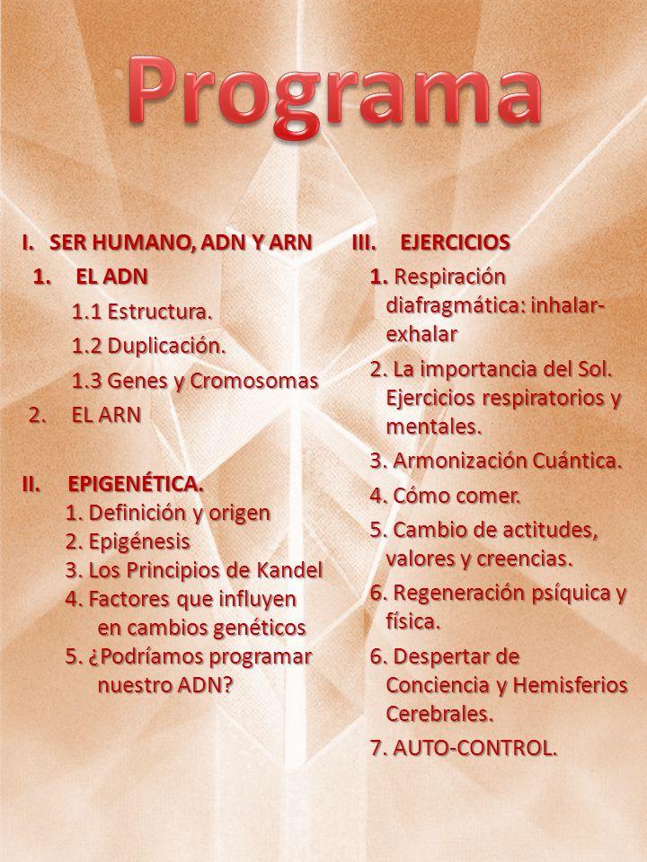 I.SER HUMANO, ADN Y ARN 1.EL ADN 1.1 Estructura. 1.1 Estructura. 1.2 Duplicación. 1.2 Duplicación. 1.3 Genes y Cromosomas 1.3 Genes y Cromosomas 2.EL
