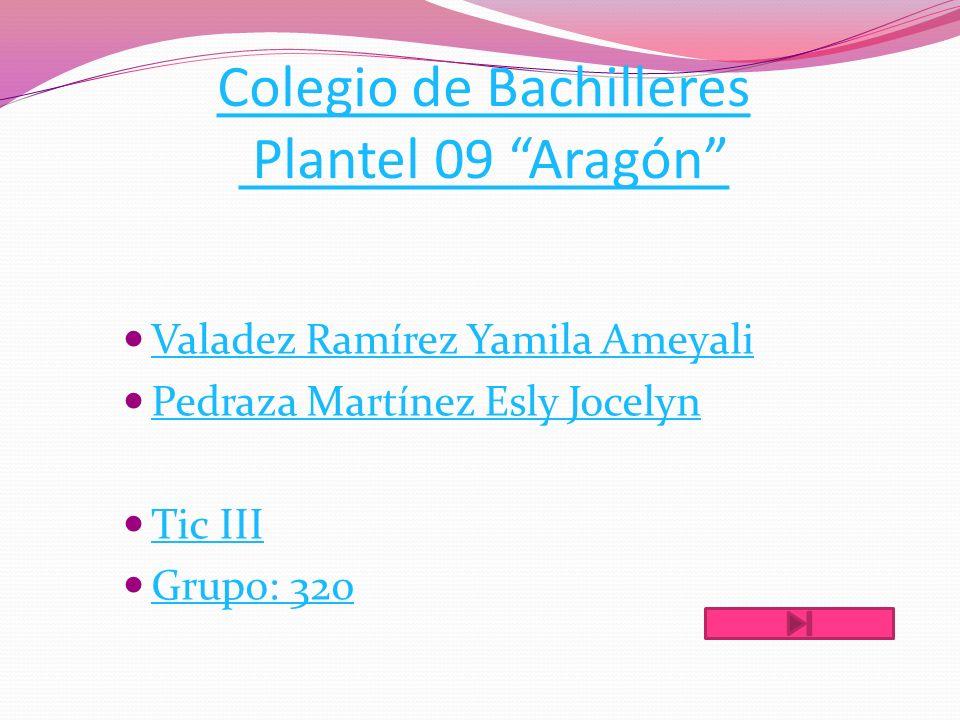 Colegio de Bachilleres Plantel 09 Aragón Valadez Ramírez Yamila Ameyali Pedraza Martínez Esly Jocelyn Tic III Grupo: 320