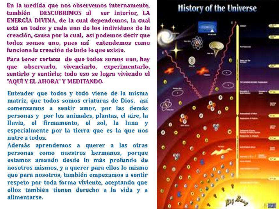 En la medida que nos observemos internamente, también DESCUBRIMOS al ser interior, LA ENERGÌA DIVINA, de la cual dependemos, la cual está en todos y c