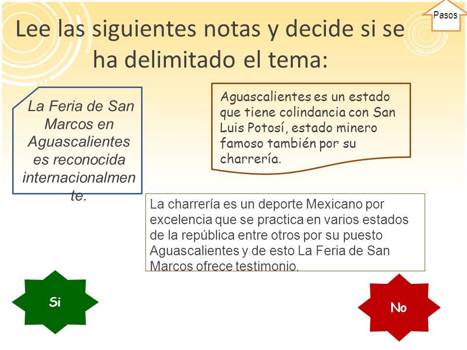 Lee las siguientes notas y decide si se ha delimitado el tema: La charrería es un deporte Mexicano por excelencia que se practica en varios estados de