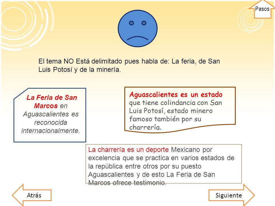 El tema NO Está delimitado pues habla de: La feria, de San Luis Potosí y de la minería. SiguienteAtrás La charrería es un deporte Mexicano por excelen