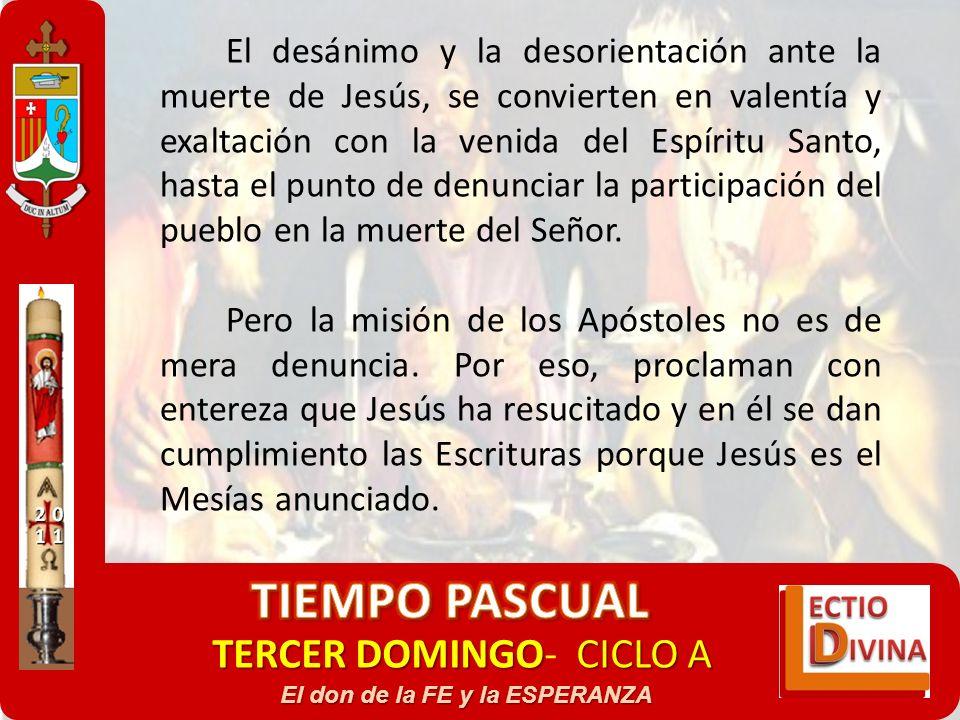 TERCER DOMINGOCICLO A TERCER DOMINGO- CICLO A El don de la FE y la ESPERANZA El desánimo y la desorientación ante la muerte de Jesús, se convierten en