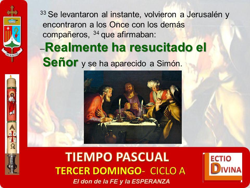 TERCER DOMINGOCICLO A TERCER DOMINGO- CICLO A El don de la FE y la ESPERANZA 33 Se levantaron al instante, volvieron a Jerusalén y encontraron a los O