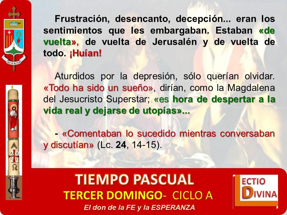 TERCER DOMINGOCICLO A TERCER DOMINGO- CICLO A El don de la FE y la ESPERANZA «de vuelta» ¡Huían! Frustración, desencanto, decepción... eran los sentim