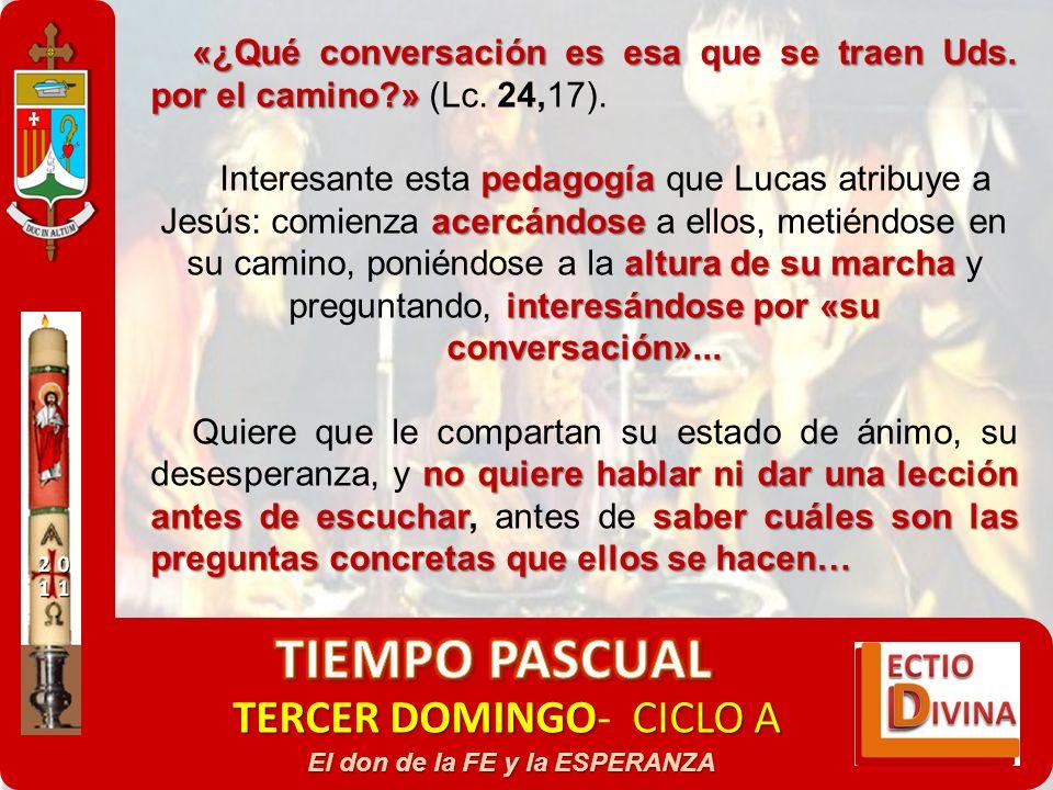 TERCER DOMINGOCICLO A TERCER DOMINGO- CICLO A El don de la FE y la ESPERANZA «¿Qué conversación es esa que se traen Uds. por el camino?» «¿Qué convers