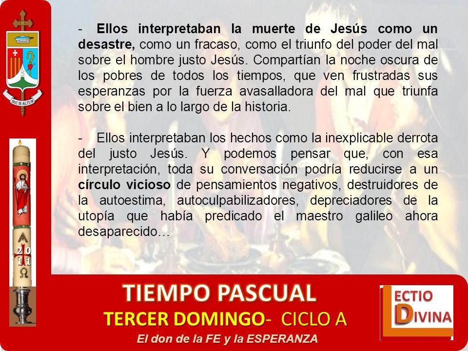 TERCER DOMINGOCICLO A TERCER DOMINGO- CICLO A El don de la FE y la ESPERANZA -Ellos interpretaban la muerte de Jesús como un desastre, como un fracaso