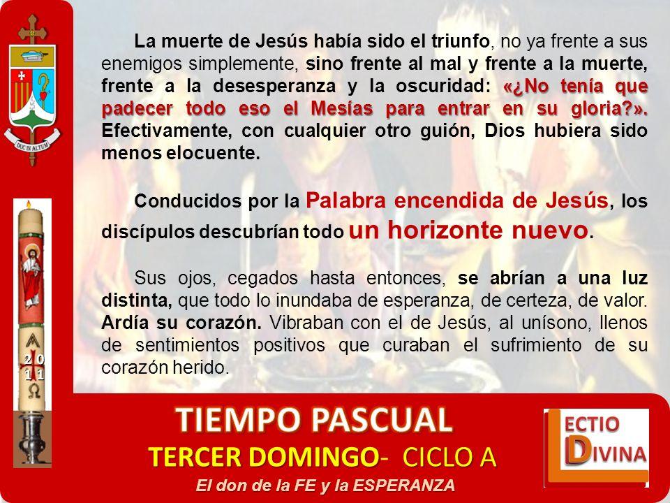 TERCER DOMINGOCICLO A TERCER DOMINGO- CICLO A El don de la FE y la ESPERANZA «¿No tenía que padecer todo eso el Mesías para entrar en su gloria?». La