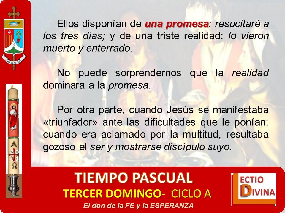 TERCER DOMINGOCICLO A TERCER DOMINGO- CICLO A El don de la FE y la ESPERANZA una promesa Ellos disponían de una promesa: resucitaré a los tres días; y