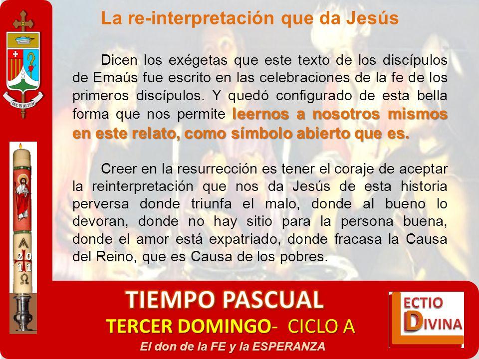 TERCER DOMINGOCICLO A TERCER DOMINGO- CICLO A El don de la FE y la ESPERANZA La re-interpretación que da Jesús leernos a nosotros mismos en este relat