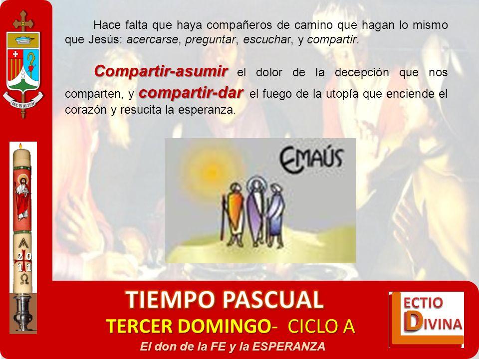 TERCER DOMINGOCICLO A TERCER DOMINGO- CICLO A El don de la FE y la ESPERANZA Hace falta que haya compañeros de camino que hagan lo mismo que Jesús: ac