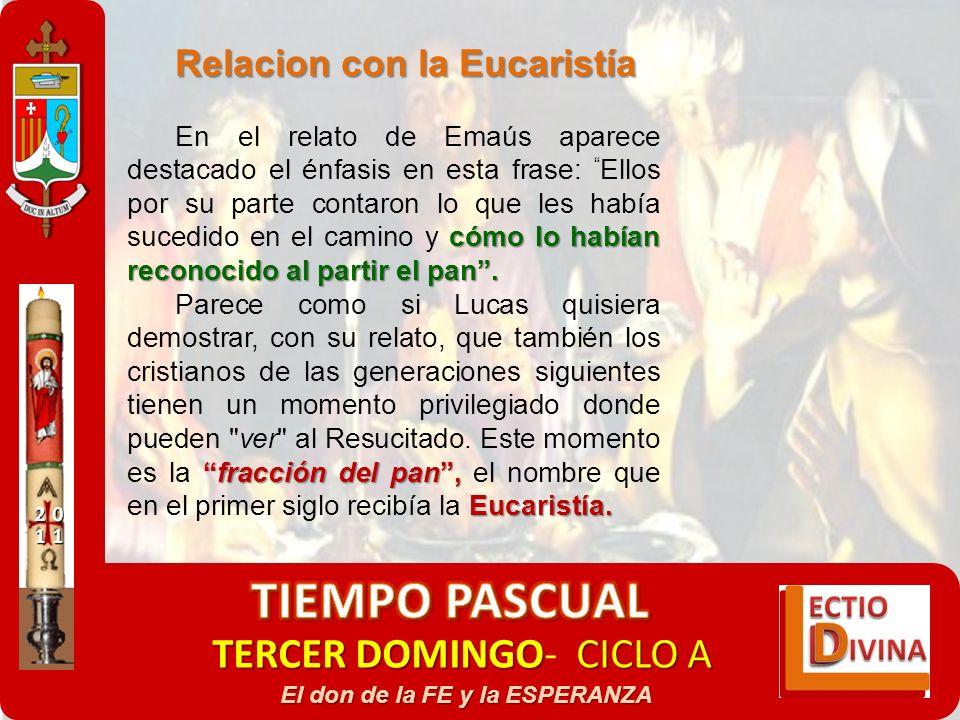 TERCER DOMINGOCICLO A TERCER DOMINGO- CICLO A El don de la FE y la ESPERANZA Relacion con la Eucaristía cómo lo habían reconocido al partir el pan. En
