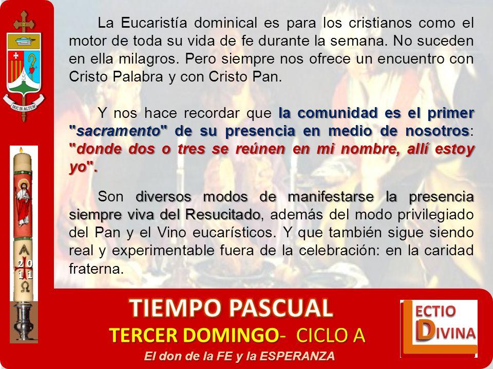 TERCER DOMINGOCICLO A TERCER DOMINGO- CICLO A El don de la FE y la ESPERANZA La Eucaristía dominical es para los cristianos como el motor de toda su v