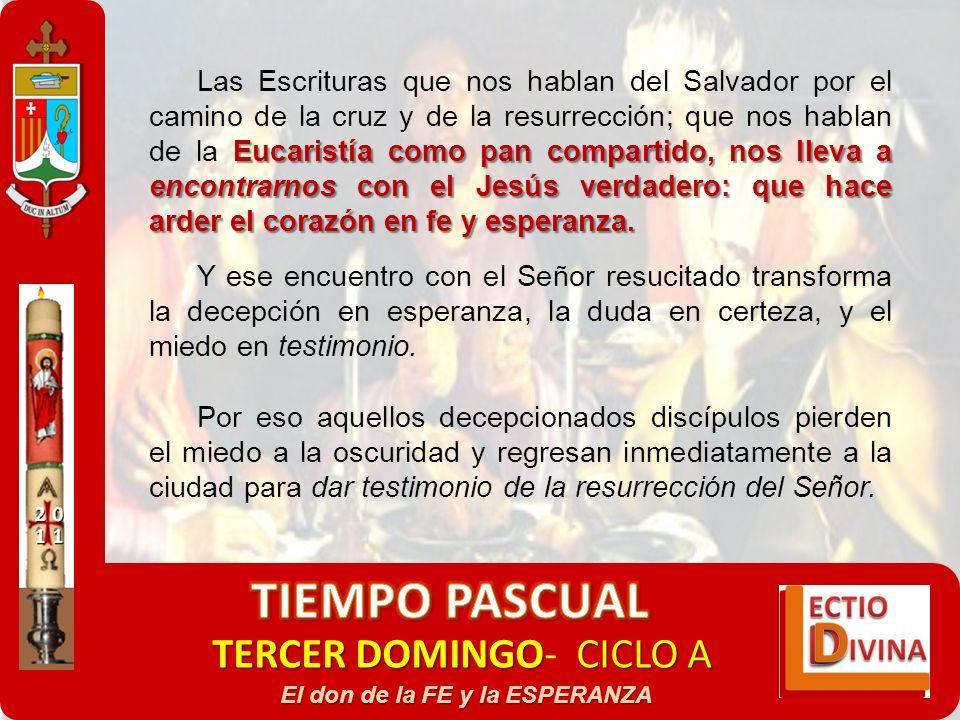 TERCER DOMINGOCICLO A TERCER DOMINGO- CICLO A El don de la FE y la ESPERANZA Eucaristía como pan compartido, nos lleva a encontrarnos con el Jesús ver