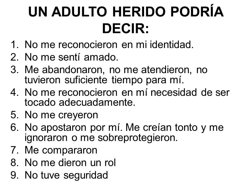 UN ADULTO HERIDO PODRÍA DECIR: 1.No me reconocieron en mi identidad. 2.No me sentí amado. 3.Me abandonaron, no me atendieron, no tuvieron suficiente t