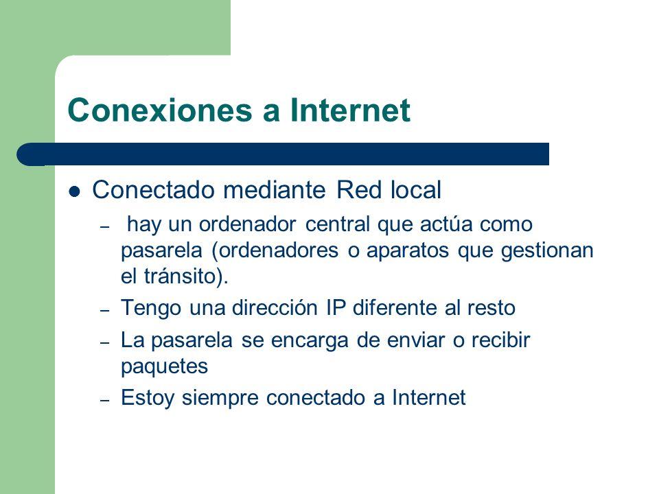 Conexiones a Internet Conectado mediante Red local – hay un ordenador central que actúa como pasarela (ordenadores o aparatos que gestionan el tránsito).