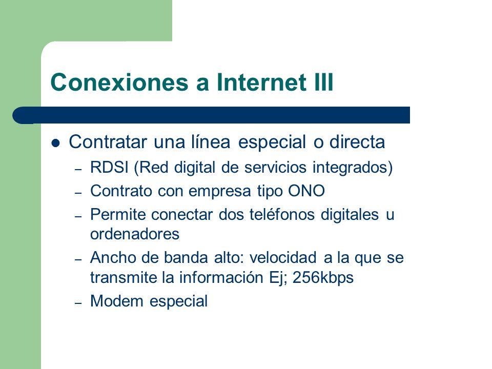 Conexiones a Internet III Contratar una línea especial o directa – RDSI (Red digital de servicios integrados) – Contrato con empresa tipo ONO – Permit