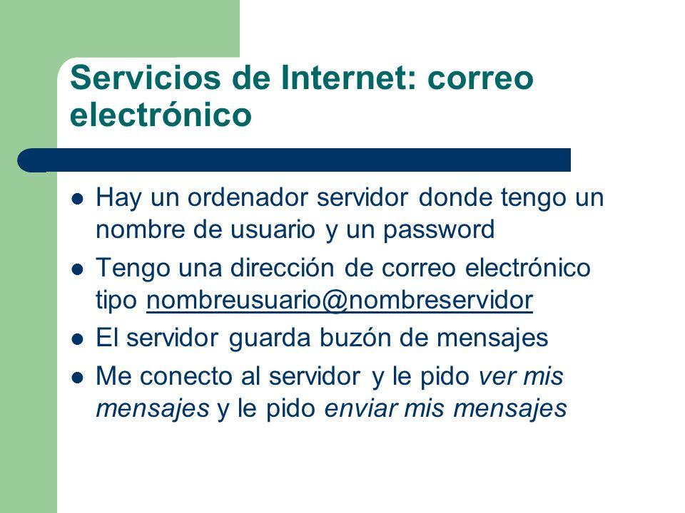 Servicios de Internet: correo electrónico Hay un ordenador servidor donde tengo un nombre de usuario y un password Tengo una dirección de correo elect