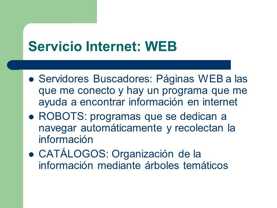 Servicio Internet: WEB Servidores Buscadores: Páginas WEB a las que me conecto y hay un programa que me ayuda a encontrar información en internet ROBO