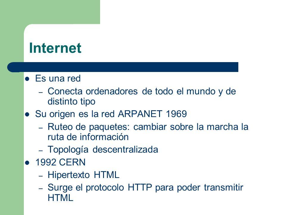 Internet Es una red – Conecta ordenadores de todo el mundo y de distinto tipo Su origen es la red ARPANET 1969 – Ruteo de paquetes: cambiar sobre la marcha la ruta de información – Topología descentralizada 1992 CERN – Hipertexto HTML – Surge el protocolo HTTP para poder transmitir HTML