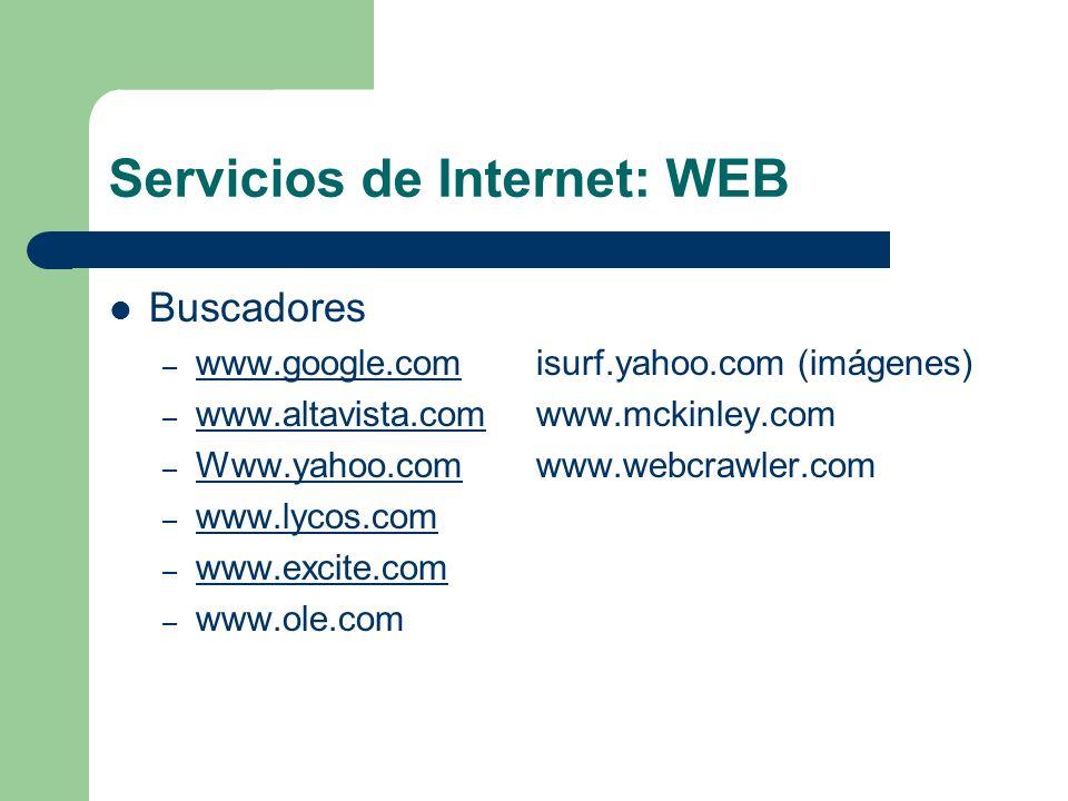 Servicios de Internet: WEB Buscadores – www.google.comisurf.yahoo.com (imágenes) www.google.com – www.altavista.comwww.mckinley.com www.altavista.com – Www.yahoo.comwww.webcrawler.com Www.yahoo.com – www.lycos.com www.lycos.com – www.excite.com www.excite.com – www.ole.com