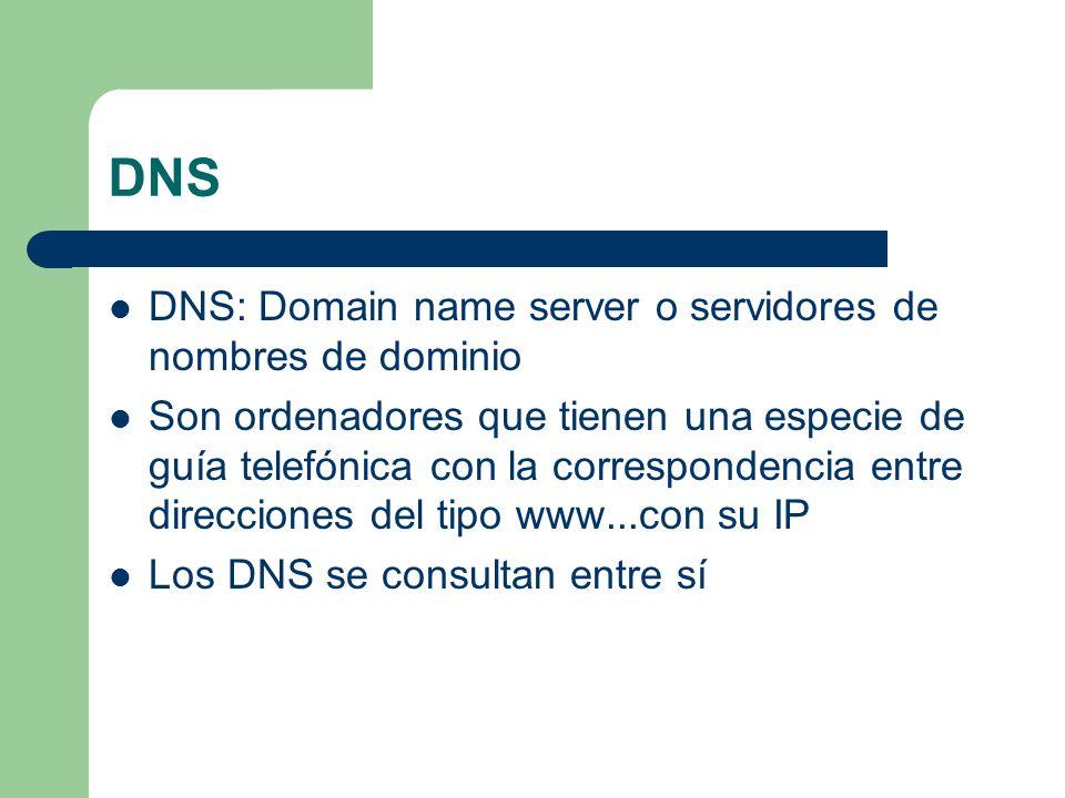 DNS DNS: Domain name server o servidores de nombres de dominio Son ordenadores que tienen una especie de guía telefónica con la correspondencia entre