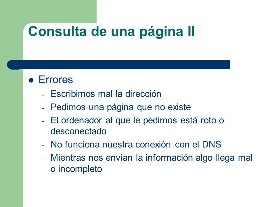 Consulta de una página II Errores - Escribimos mal la dirección - Pedimos una página que no existe - El ordenador al que le pedimos está roto o descon