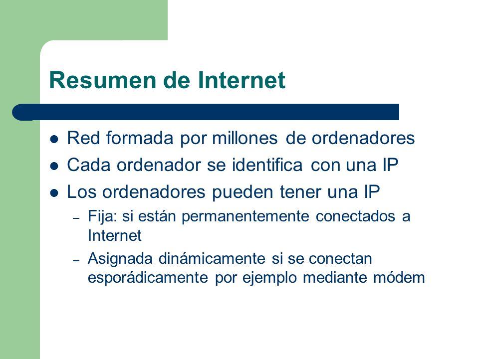 Resumen de Internet Red formada por millones de ordenadores Cada ordenador se identifica con una IP Los ordenadores pueden tener una IP – Fija: si están permanentemente conectados a Internet – Asignada dinámicamente si se conectan esporádicamente por ejemplo mediante módem
