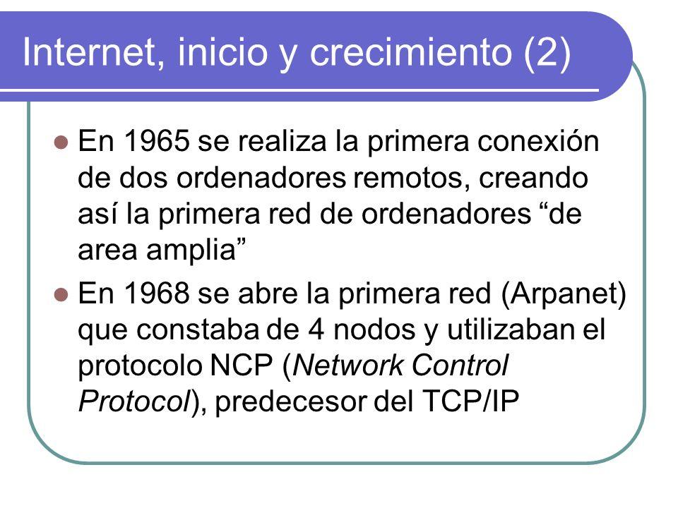 Internet, inicio y crecimiento (3) En 1971 Arpanet constaba ya de 15 nodos y se inventó el primer programa para enviar mensajes por al red En 1972 se forma un grupo de investigación internacional.