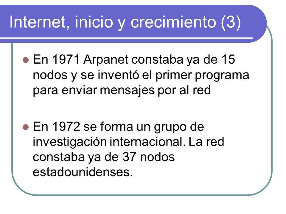Internet, inicio y crecimiento (14) En 1989 la red quedó compuesta por unos 100000 nodos interconectados y Arpanet acabó de desaparecer.